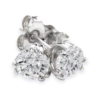 Gorgeous 1ct Twin Prong Diamond Stud Earrings in 14k White Gold