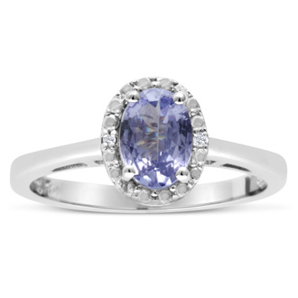 3/4ct Oval Tanzanite and Diamond Halo Ring