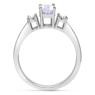 3/4ct Oval Shape Tanzanite and Diamond Ring Crafted In Solid Sterling Silver