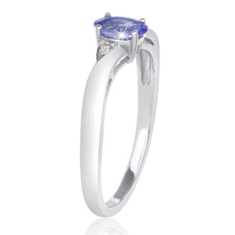 3/8ct Oval Shape Tanzanite and Diamond Ring Crafted In Solid Sterling Silver