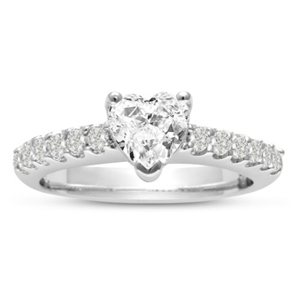 1 1/3ct Heart Shape Diamond Engagement Ring Crafted in 14 Karat White Gold, Also Available in Yellow and Rose Gold