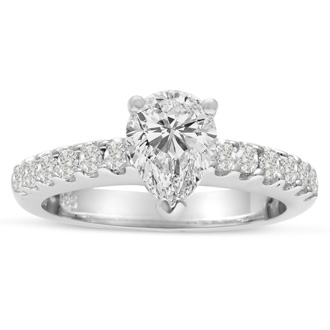1 1/2ct Pear Shaped Diamond Engagement Ring Crafted in 14 Karat White Gold, Also Available in Yellow and Rose Gold
