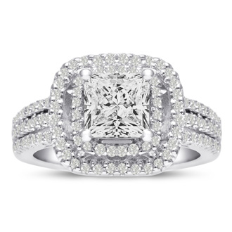 1 2/3 Carat Princess Cut Double Halo Diamond Engagement Ring in 14 Karat White Gold