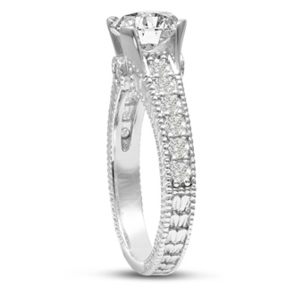 1 2/3 Carat Round Diamond Engagement Ring in 14 Karat White Gold
