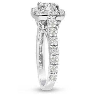 1 3/4 Carat Halo Diamond Engagement Ring in 14 Karat White Gold