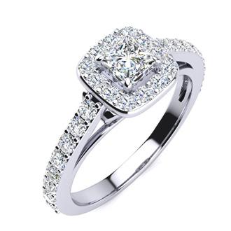 2 Carat Princess Cut Halo Diamond Engagement Ring in 14k White Gold