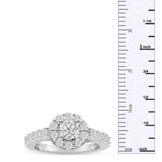 1 3/5ct Diamond Halo Engagement Ring in 14k White Gold