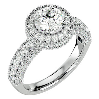 2 Carat Halo Diamond Engagement Ring in 14 Karat White Gold