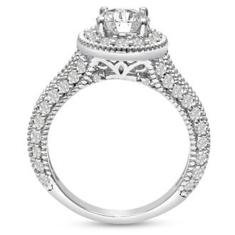 1.8ct Split Shank Diamond Halo Engagement Ring in 14k White Gold