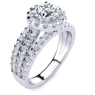 1 2/3 Carat Round Halo Diamond Engagement Ring in 14k White Gold