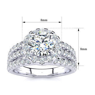 1 2/3 Carat Round Halo Diamond Engagement Ring in 14k White Gold