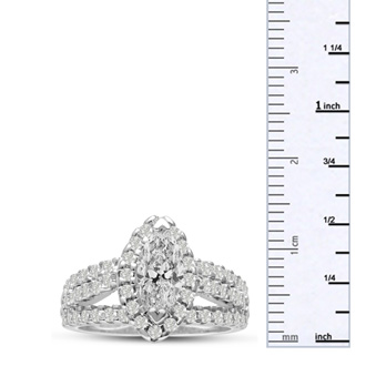 1 2/3 Carat Marquise Halo Diamond Engagement Ring in 14 Karat White Gold