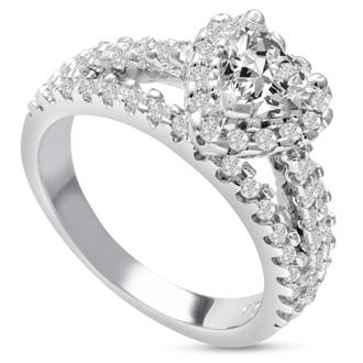 1 2/3 Carat Heart Halo Diamond Engagement Ring in 14 Karat White Gold