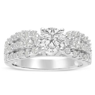 1 1/5 Carat Round Diamond Engagement Ring in 14 Karat White Gold