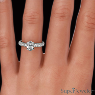 1 1/3 Carat Oval Shape Diamond Engagement Ring Crafted in 14 Karat White Gold
