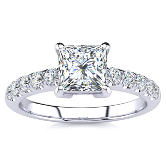 1 2/5ct Princess Cut Diamond Engagement Ring Crafted in 14 Karat White Gold