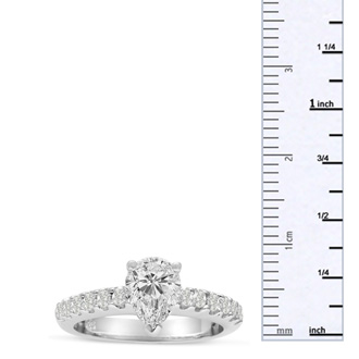 1 1/3 Carat Pear Shape Diamond Engagement Ring In 14 Karat White Gold