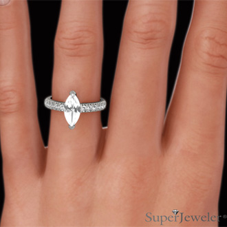 1 1/3 Carat Marquise Shape Diamond Engagement Ring In 14 Karat White Gold