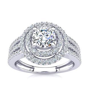 1 1/2 Carat Double Halo Round Diamond Engagement Ring in 14 Karat White Gold