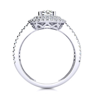 1 1/2 Carat Double Halo Round Diamond Engagement Ring in 14 Karat White Gold