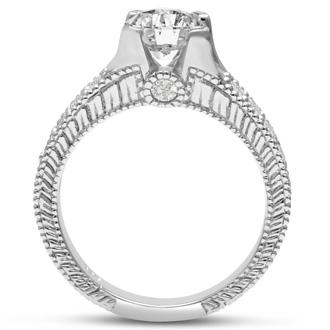 1 2/3 Carat Round Diamond Engagement Ring in 14 Karat White Gold
