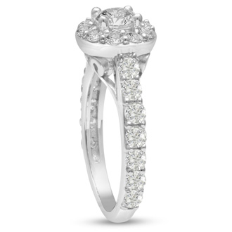 1 1/2 Carat Halo Diamond Engagement Ring in 14 Karat White Gold