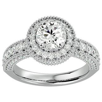 2 1/2 Carat Halo Diamond Engagement Ring In 14 Karat White Gold