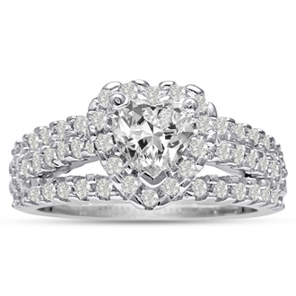 1 2/3 Carat Heart Halo Diamond Engagement Ring in 14 Karat White Gold