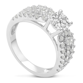 1 1/5 Carat Round Diamond Engagement Ring Crafted in 14 Karat White Gold