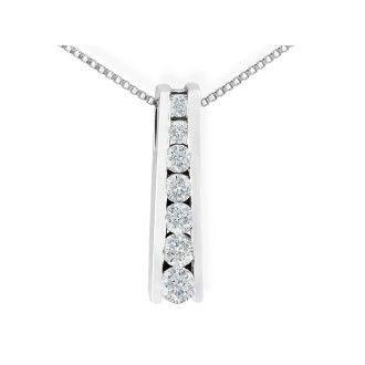 1/4ct Ladder Style Journey Diamond Pendant in 14k White Gold