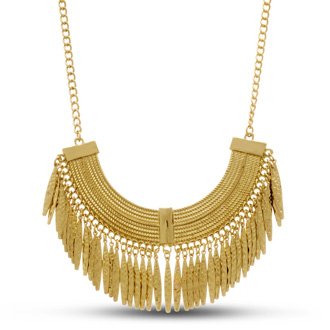 Gold Toned Grecian Fringe Bib Necklace