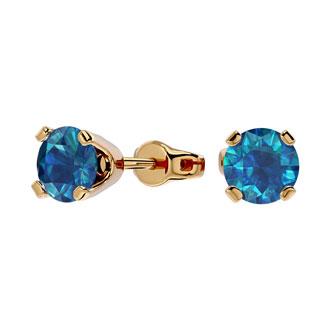 3/4 Carat Blue Diamond Stud Earrings In 14 Karat Yellow Gold