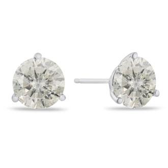 2 Carat Diamond Martini Stud Earrings In 14 Karat White Gold