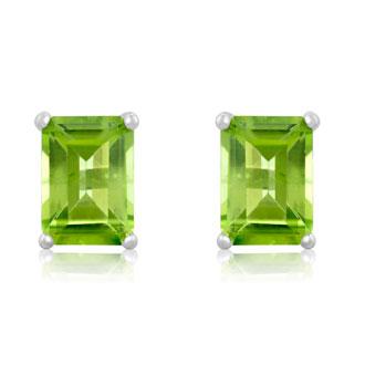 2 1/2ct Emerald Cut Peridot Earrings