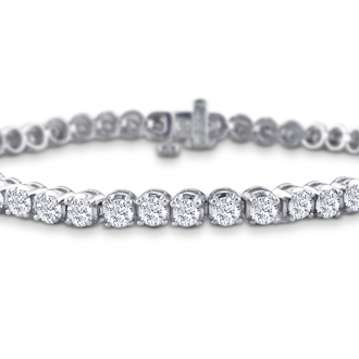7.5 Inch, 3.21ct Round Based Diamond Tennis Bracelet in 14k White Gold