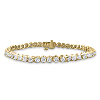 3.21 Carat Diamond Tennis Bracelet In 14 Karat Yellow Gold, 7 1/2 Inches