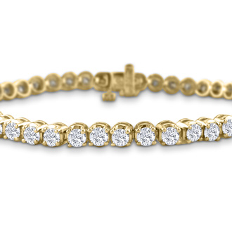 7.5 Inch, 3.21ct Round Based Diamond Tennis Bracelet in 14k Yellow Gold
