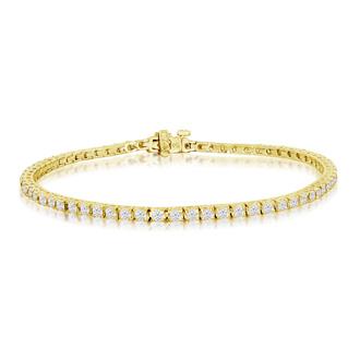 7.5 Inch, 3.21ct Round Based Diamond Tennis Bracelet in 14k Yellow Gold