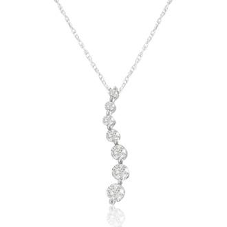 1/4ct Diamond Journey Pendant in White Gold