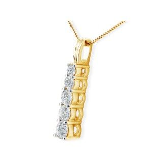1/4ct Stick Style Journey Diamond Pendant in 14k Yellow Gold