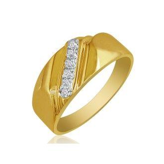 Classic Diagonal .03ct Mens Diamond Band in 14k Yellow Gold