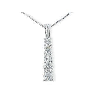 1ct Stick Style Journey Diamond Pendant in 14k White Gold