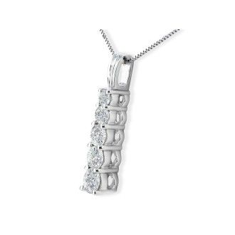 1ct Stick Style Journey Diamond Pendant in 14k White Gold