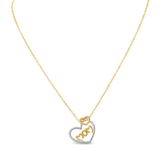 Two-Tone Diamond Heart 'Mom' Necklace