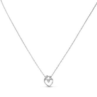 Mommy and Me Diamond Heart Necklace, 18 Inches