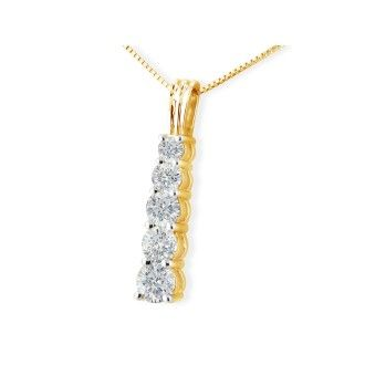 1ct Stick Style Journey Diamond Pendant in 14k Yellow Gold