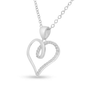 1/10ct Swirly Diamond Heart Pendant, 18 Inches