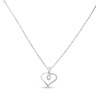 1/10ct Swirly Diamond Heart Pendant, 18 Inches