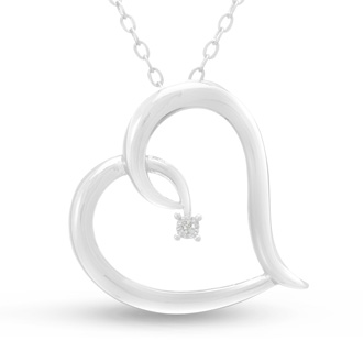 Reclining Fiery Diamond Heart Necklace!  Amazing For The Money!  Don't MIss This Amazing Deal!!