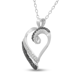 1/4ct Black and White Diamond Heart Necklace
